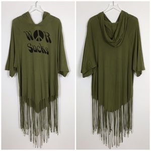 Wildfox War Sucks Boho Fringe Hoodie Tunic Top